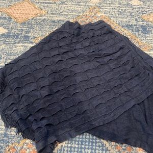 Navy blue sweater poncho